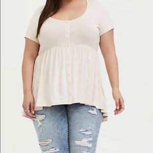 TORRID SUPER SOFT LIGHT PINK BUTTON FRONT …